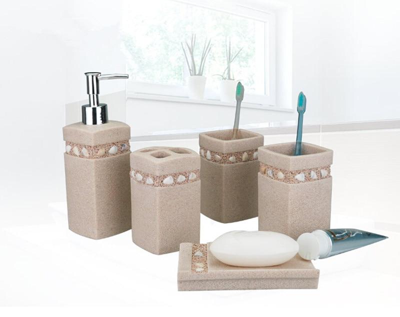 5 pz set bagno breve lavaggio resina set pallet portaspazzolino