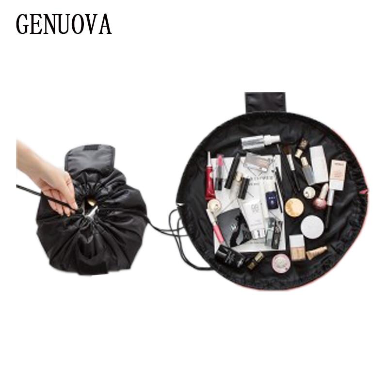 Printing Double Pocket Organizer Large Capacity Cosmetics Bag Travel Lazy Makeup Storage Bag Drawstring Magic Make Up Bag Artist striped drawstring wrap around makeup bag