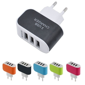 50pcs 3 USB ports EU plug 3.1A usb AC Home wall charger for iphone 5 6 6s plus se for samsung s5 s6 s7 for htc lg