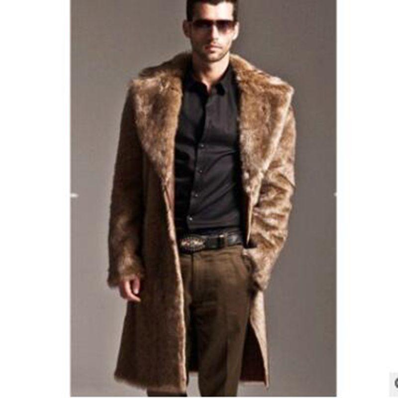 b Men Fur Coat Winter Faux Fur Outwear On One Sides Coat Men Punk Parka Jackets Long Leather Overcoats Genuine Faux Fur Clothing in Faux Leather Coats from Men 39 s Clothing