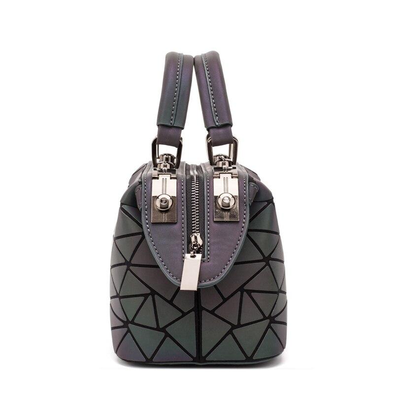 Image 5 - ファッション幾何ハンドバッグバッグ女性発光ボストン女性のメッセンジャーバッグレディース無地ショルダーバッグクラッチ嚢 bolso -     グループ上の スーツケース
