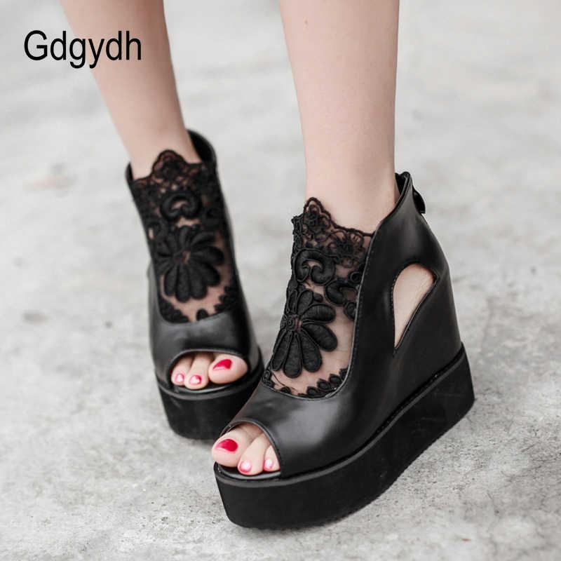 Gdgydh Burnu açık Yaz Çizmeler Kadın Ilkbahar Yaz Ayakkabı Platformu Takozlar Moda Dantel Kadın Ayakkabı Siyah Deri Sıcak Satış 2019