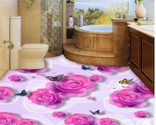 beibehang 3d flooring papel de parede stereo floor professional design Pink Rose Butterfly aesthetic fashion tapety