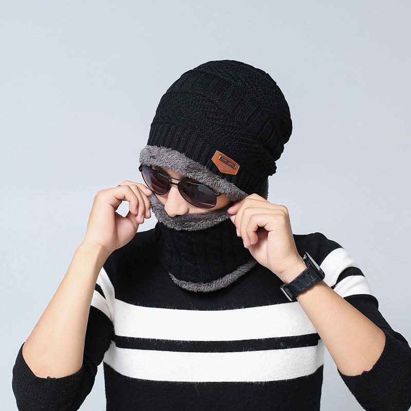 Tide knitting wool cap Winter plus cashmere warm jacket men hat Scarf Outdoor cap