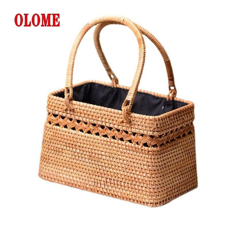 Bohême Style fait à la main en rotin paille tissé découpe sac naturel exotique rotin panier de rangement à la mode sacs de plage pour les femmes