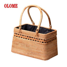 Bohemia Style Handmade Rattan Straw Woven Cutout Bag Natural Exotic Storage Basket Fashionable Beach Bags For Women