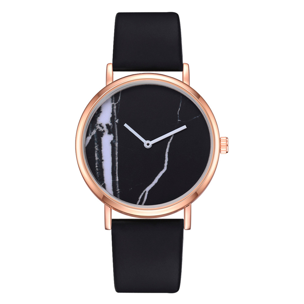 Ladies Simple Black And White Marble Pattern Dial Quartz Wristwatch Clock Leather Strap Fashion Minimalist Women Watches XB40