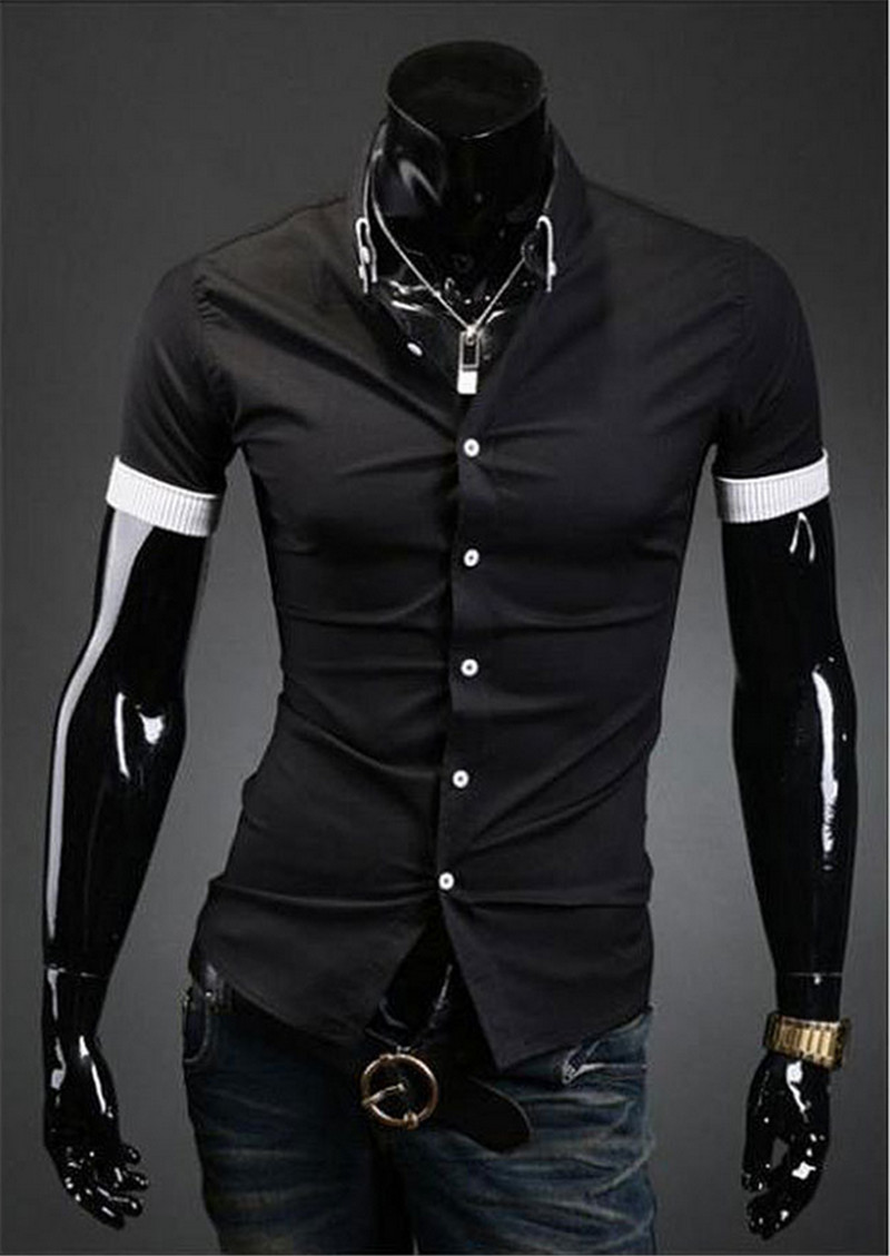 9e86e039b83 Fashion Casual Men s Shirt Short Sleeve Button Down Slim Summer Dress  Shirts Formal Men Work Shirt Black White Tops-in Dress Shirts from Men s  Clothing on ...