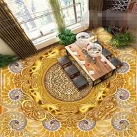 beibehang Custom photo wallpaper floor painted gold foil European luxury three-dimensional pattern 3D floor papel de parede