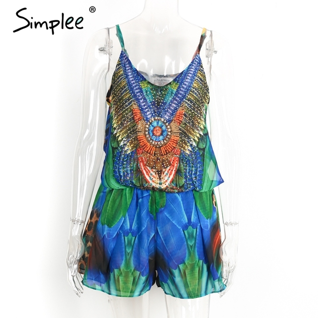 Simplee Boho sexy women jumpsuit romper Hot drilling floral print chiffon summer jumpsuit Female bow overalls beach playsuit New