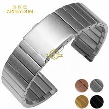 Acier inoxydable bracelet solide en métal bracelet 16 18 20 22mm bracelet de montre montres band argent or rose couleur montre ceinture