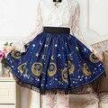 Azul escuro Sailor moon Estrelas Impressão Lua Lolita Rendas Curto rendas Doce Damas Saia Senhora Saia Plissada Mulheres Punk Gótico SK