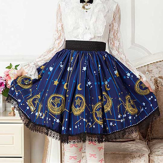 Dark Blue Sailor moon Stars Moon Print Lolita Lace Short Lace Sweet Skirt Gentlewomen Lady Pleated Skirt Women Gothic Punk SK