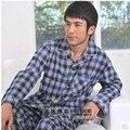 Pijamas Para Homens Primavera E No Outono Xadrez Tecido de Algodão 100% Homens Sleepwear Salão Plus Size Conjuntos de Pijama Pijama XXXL Dos Homens Pijama