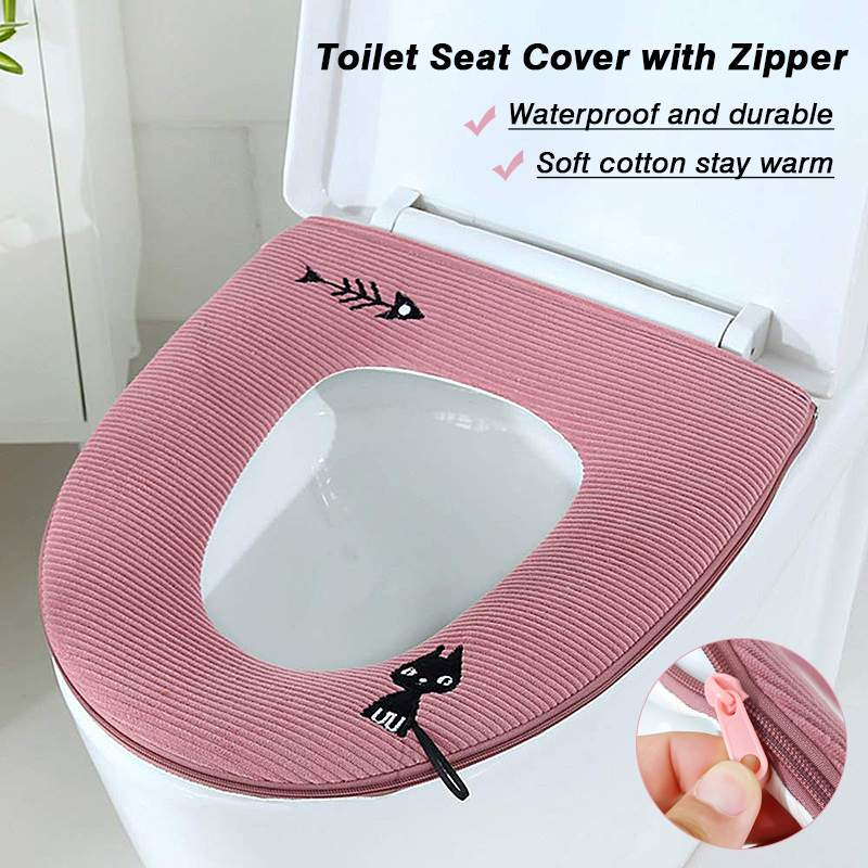 Cool 4Pcs Warm Soft Toilet Seat Cover Mat With Zipper Handle Washable Standard Toilet Lid Pad Cartoon Cushion Bathroom Accessories Pdpeps Interior Chair Design Pdpepsorg