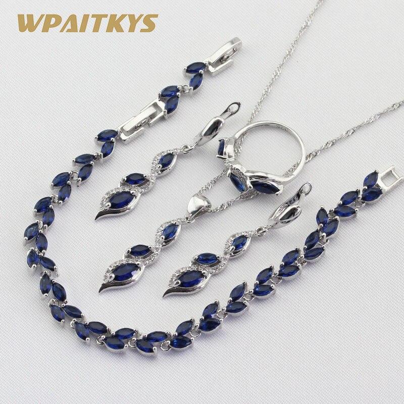 Green Blue Cubic Zirconia 925 Silver Jewelry Sets For Women Necklace Pendant Earrings Ring Bracelet Free Gift Box WPAITKYS