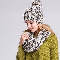 Удобные трикотажные зима теплая шапка и шарф комплект для Для Женщин Девочек шапочки толстые женские капот шарф комплект Для женщин Снуд ша...