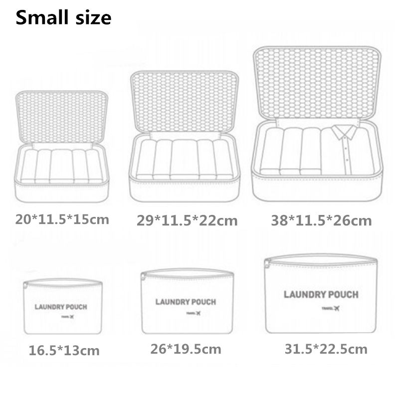 RUPUTIN New 6PCS/Set High Quality Oxford Cloth Ms Travel Mesh Bag In Bag Luggage Organizer Packing Cube Organiser for Clothing