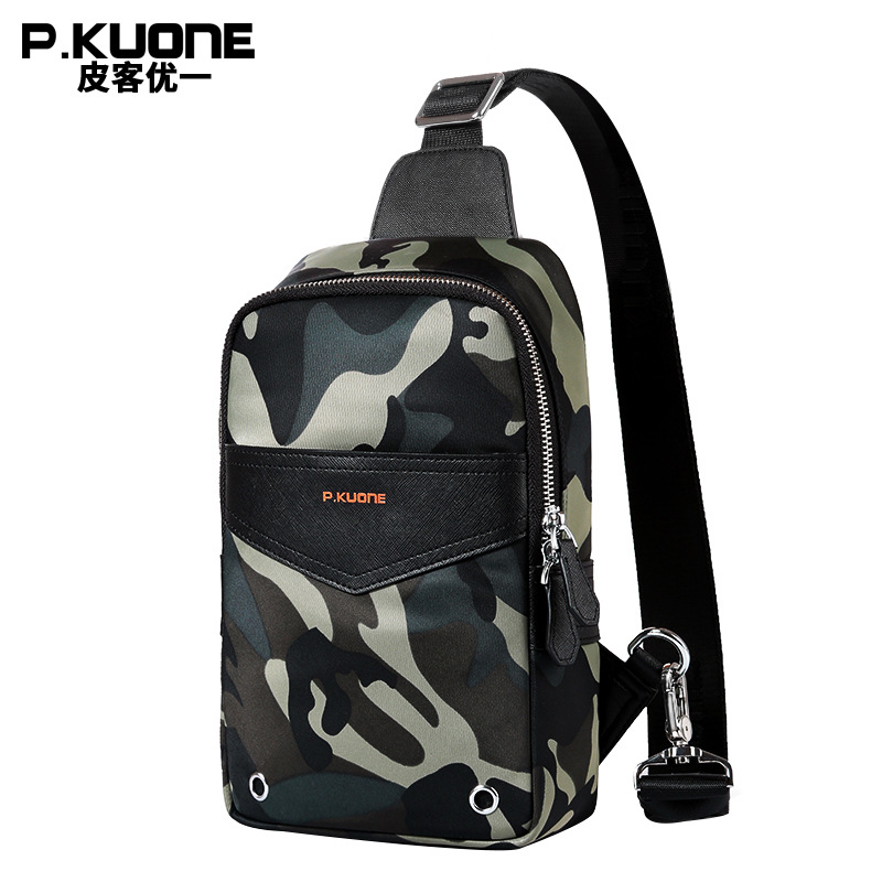 P.KUONE 2018 Single Strap Small Messenger Bag Canvas Camouflage Chest Pack Brand Design Handbag Men Shoulder Crossbody Bag Male japanese pouch small hand carry green canvas heat preservation lunch box bag for men and women shopping mama bag