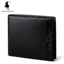 Luxury Brand WILLIAMPOLO 2017 Genuine Leather Wallet Driving License Holder Short Small Men Purse POLO140