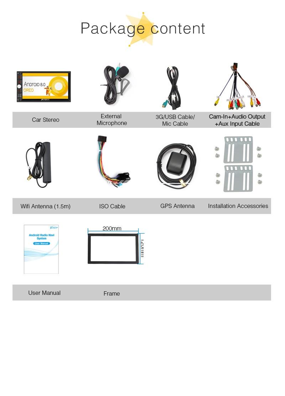 Citrouille Octa Core RAM 4G ROM 32G 2 Din 7''Android 8.0 universel autoradio Audio stéréo sans DVD GPS Navigation démarrage rapide Headunit - 6