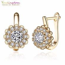Yunkingdom Fashion Shiny Zirconia Hoop Earrings for Women White Gold/Gold Color Earring