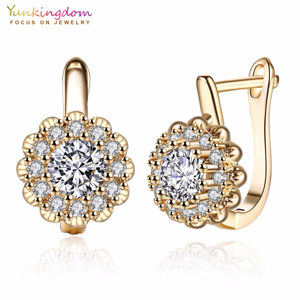 Yunkingdom Mode Shiny Zirconia Hoop Earrings untuk Wanita Anting Emas Putih / Emas