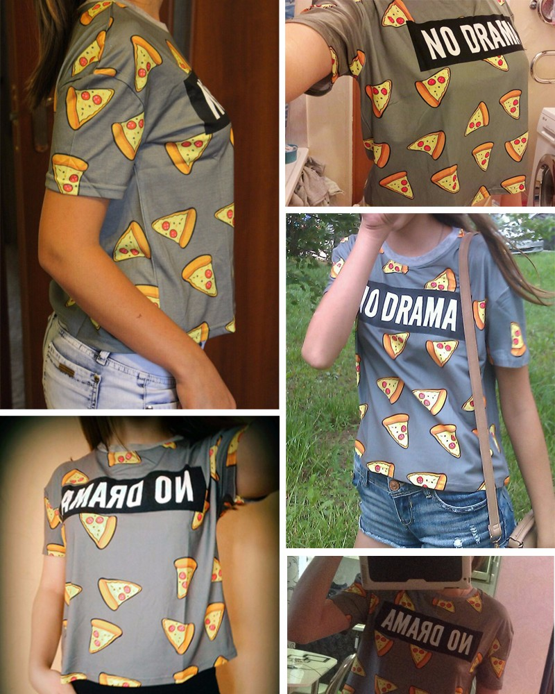 HTB1j6.nOVXXXXakaXXXq6xXFXXXj - No Drama Pizza Print Women T Shirts Short Sleeve
