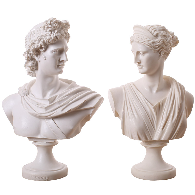 31CM Apollo Venus David Belvedere BC: Bonded Marble Resin Sculptural Bust Greek Mythology Home Accessories R07