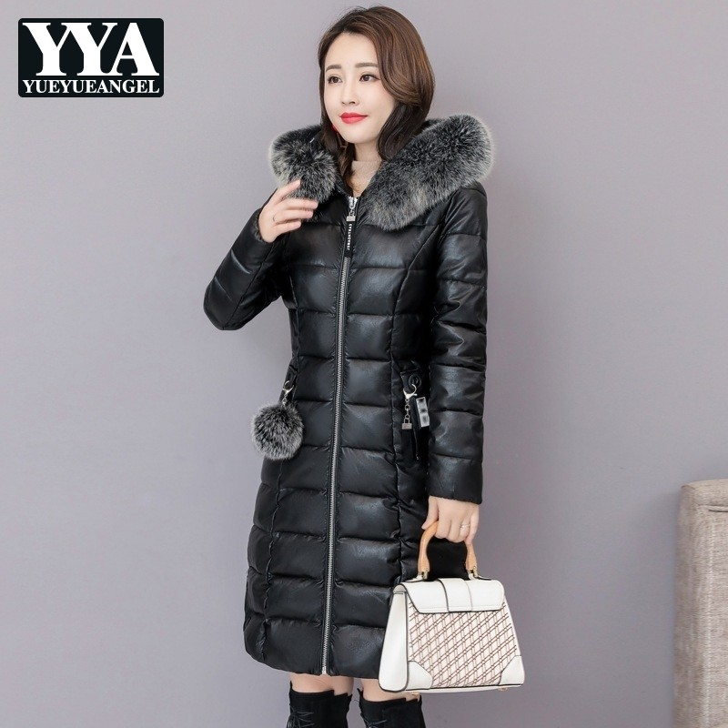 Fox Fur Collar Women Warm Thick Coat 2018 Winter Jacket Women Long Down Parkas Female Hooded Fashion Casual Faux   Leather   Clothes