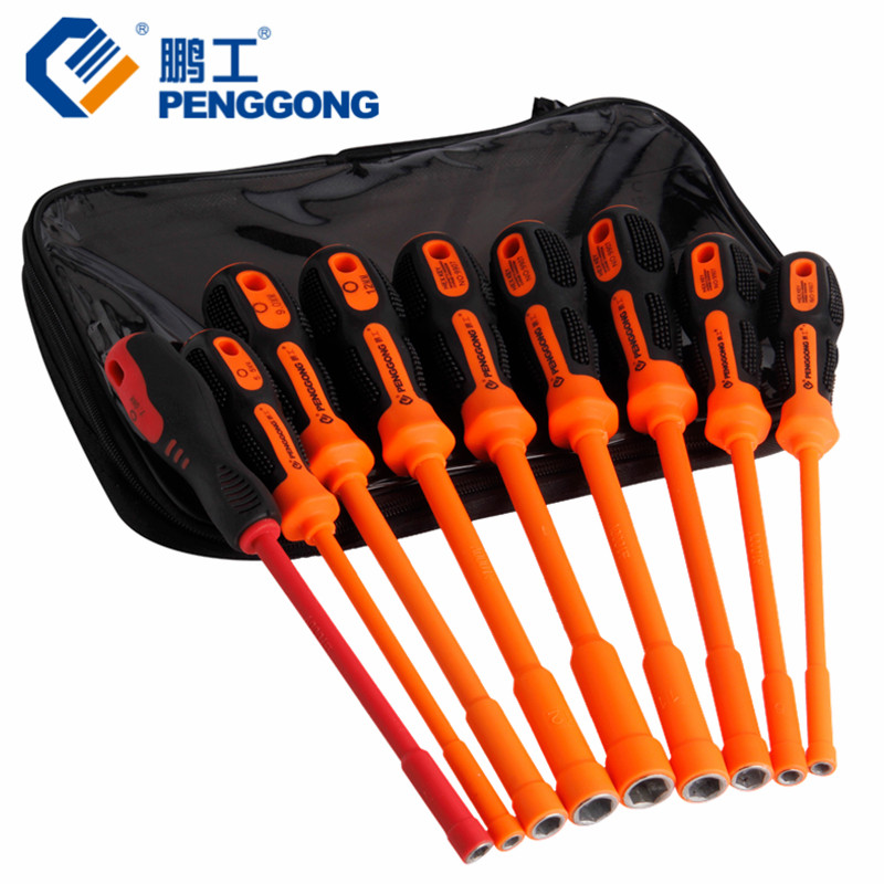 PENGGONG 1000V Hex Insulated Screwdriver Set High Voltage Socket Screwdriver Professional Electrician Hand Tools 9pcs 14pc 1000v vde insulated electrician 1 2 dr hex bits