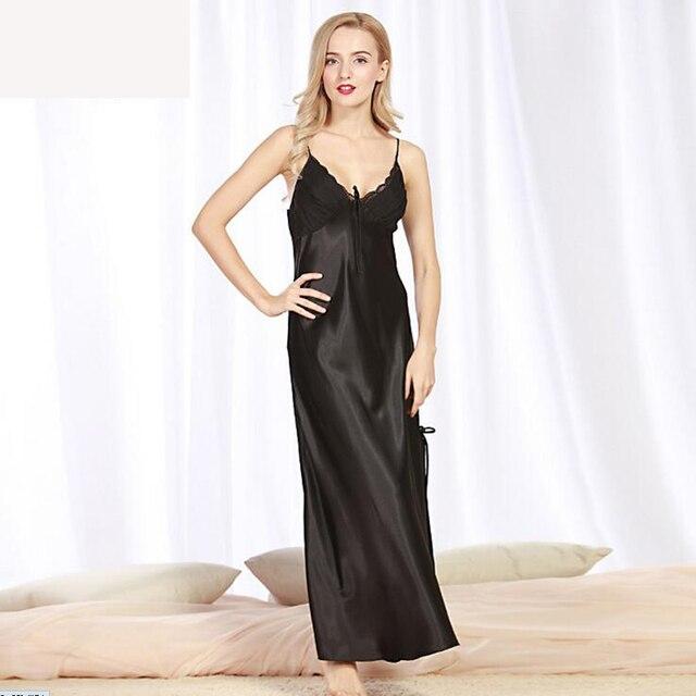 CR Nuevas mujeres Lencería Sexy Camisón de Satén De Seda Vestido De Noche ropa de Dormir de Impresión iT401 Long Summer Vestido de Encaje de Envío de La Gota