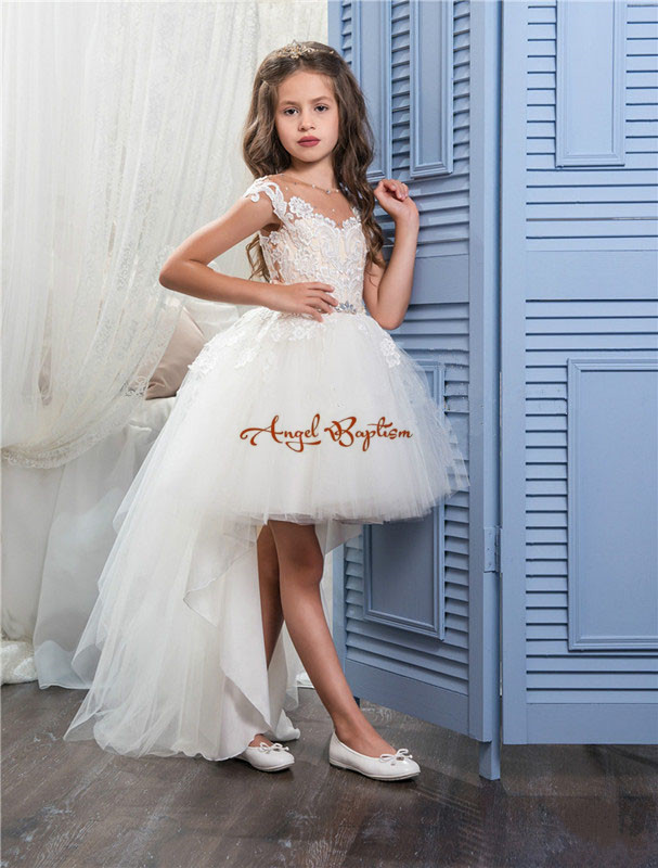 2017High Low Girls Pageant Gowns Lace Applique Sleeveless Flower Girl Dresses For Wedding white Tulle Puffy Kids Communion Dress new white ivory flower girl dresses for wedding 3d flowers puffy tulle with big bow girls first communion gowns
