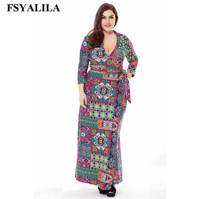 Plus Size 6XL Floral Print Maxi Dress Women 2018 Spring Summer Long Dress  Casual Elegant Office Vestido Long Sleeve V-Neck Sash 633e608fb5d3