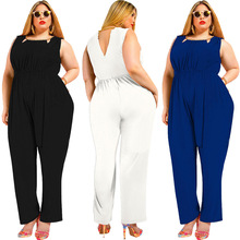 New hot summer Russian fashion personality fat MM large loose wide leg casual sexy woman jumpsuit autumn new middle east popular solid color loose casual hanging neck loose wide leg large size fat mm sexy ladies dress