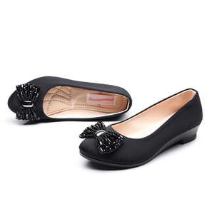 Image 4 - Women Ballet Bow Shoes Black Women Wedges Shoes For Office Work Boat Shoes Cloth Sweet Loafers Womens Pregnant Wedges Shoes