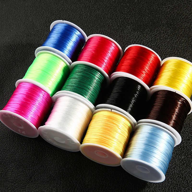 60 metros/rollo 1mm cristal plano cordón elástico rebordear hilo elástico/cuerda para collar pulsera fabricación de joyas suministro