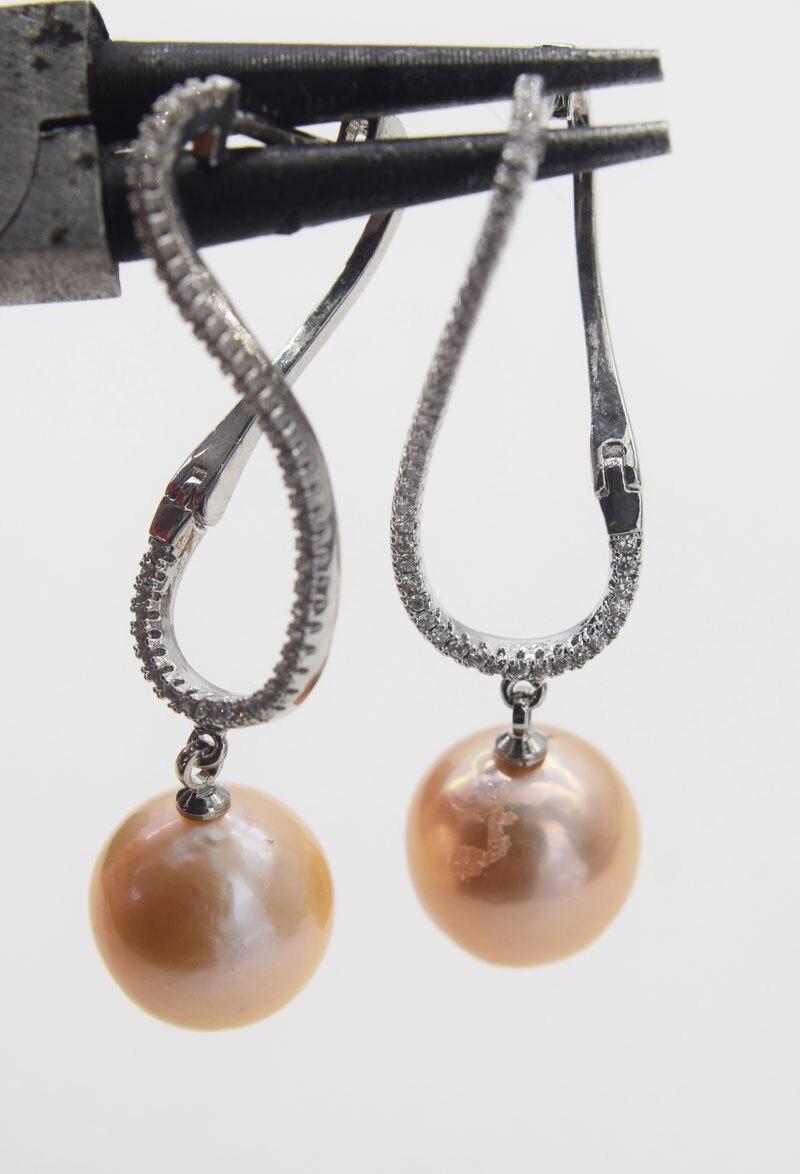 Une paire rose/violet perle d'eau douce reborn keshi près de rond 12-13mm + zircon crochet boucles d'oreilles FPPJ gros perles nature