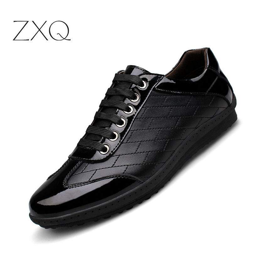 Spring New Casual Genuine Leather Sneakers Shoes Men Leather Oxford Lace-Up Shoes Simple Stylish Large Sizes 38-45 stylish men s casual shoes with metal and lace up design