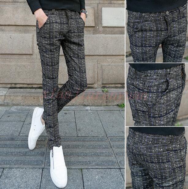 Корейский Chic в британском стиле мужские Повседневное карандаш брюки формальные Slim Fit Plaid Trouser E42