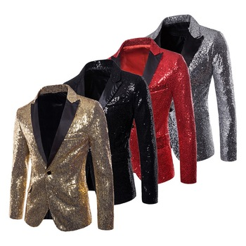 LASPERAL Mens Suits Jacket With Bow Tie Fashion Sequin Costume Nightclub Singer Wedding Grooms Shiny Blazer Gold White Red Black Men Blazers