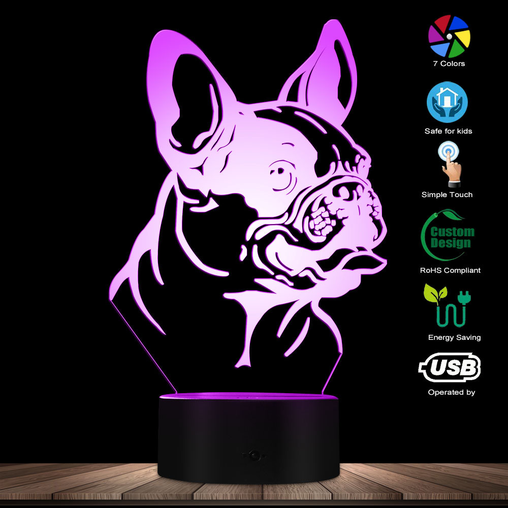 French Bulldog Custom Name 3D LED Illusion Night Light Bedroom Night Lamp Obedience Loyal French Bulldog Mascot Loved By Ladies