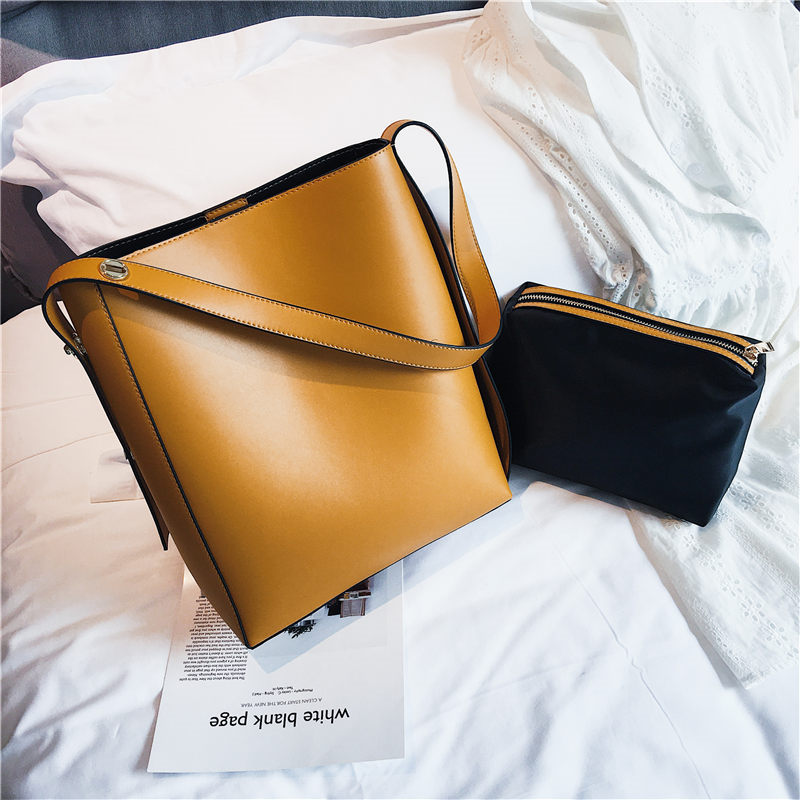 2 Pcs Set Buckets Handbags Large Women PU Leather Bags Ladies Bucket Bag Totes Shoulder Bags Messenger Bag