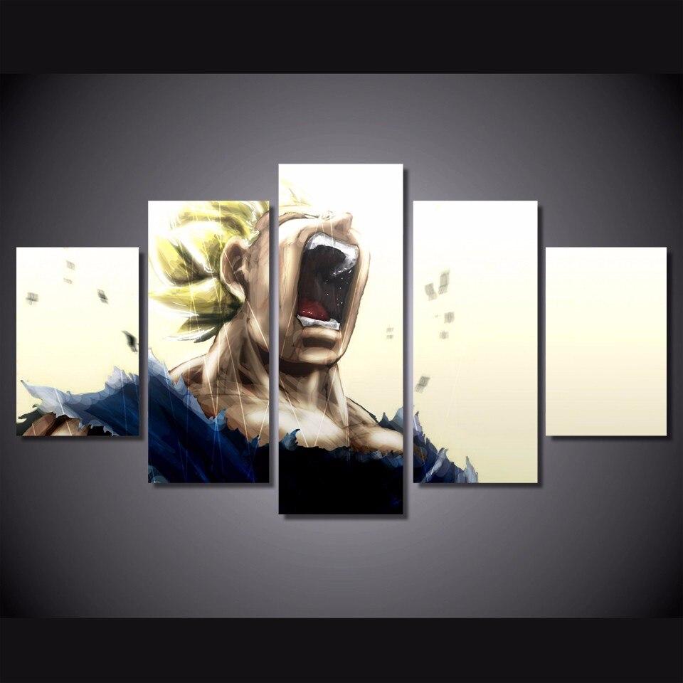 5 pièces/ensemble encadrée HD imprimé Dragon Ball Z Super Saiyan photo mur Art toile impression décor affiche toile peinture à l'huile