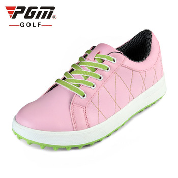 2020 Pgm Womens Pu Leather Golf Shoes Lace Up Ultra Soft Breathable Sneakers Ladies Sport Training Antiskid Shoes AA10097