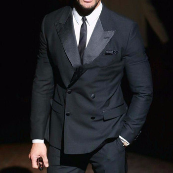 2017 Jacket+Pants+Tie Custom Men Suits Charcoal Wedding Suits For Men Double Breasted Suits Groom Tuxedos Peaked Lapel men suit