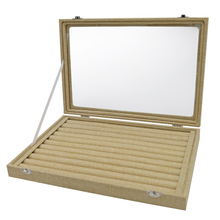 Lino 7 ranuras Anillos caja organizador joyería exhibición caja apilable con tapa de cristal y cerradura (Anillos caja)