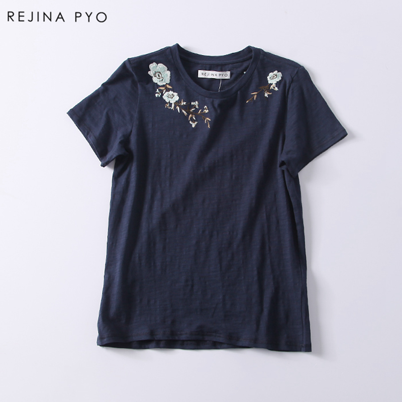 RejinaPyo 2018 Spring New Arrival Women Floral Embroidery Casual Loose T-shirt Female Cotton Tees Good Quality