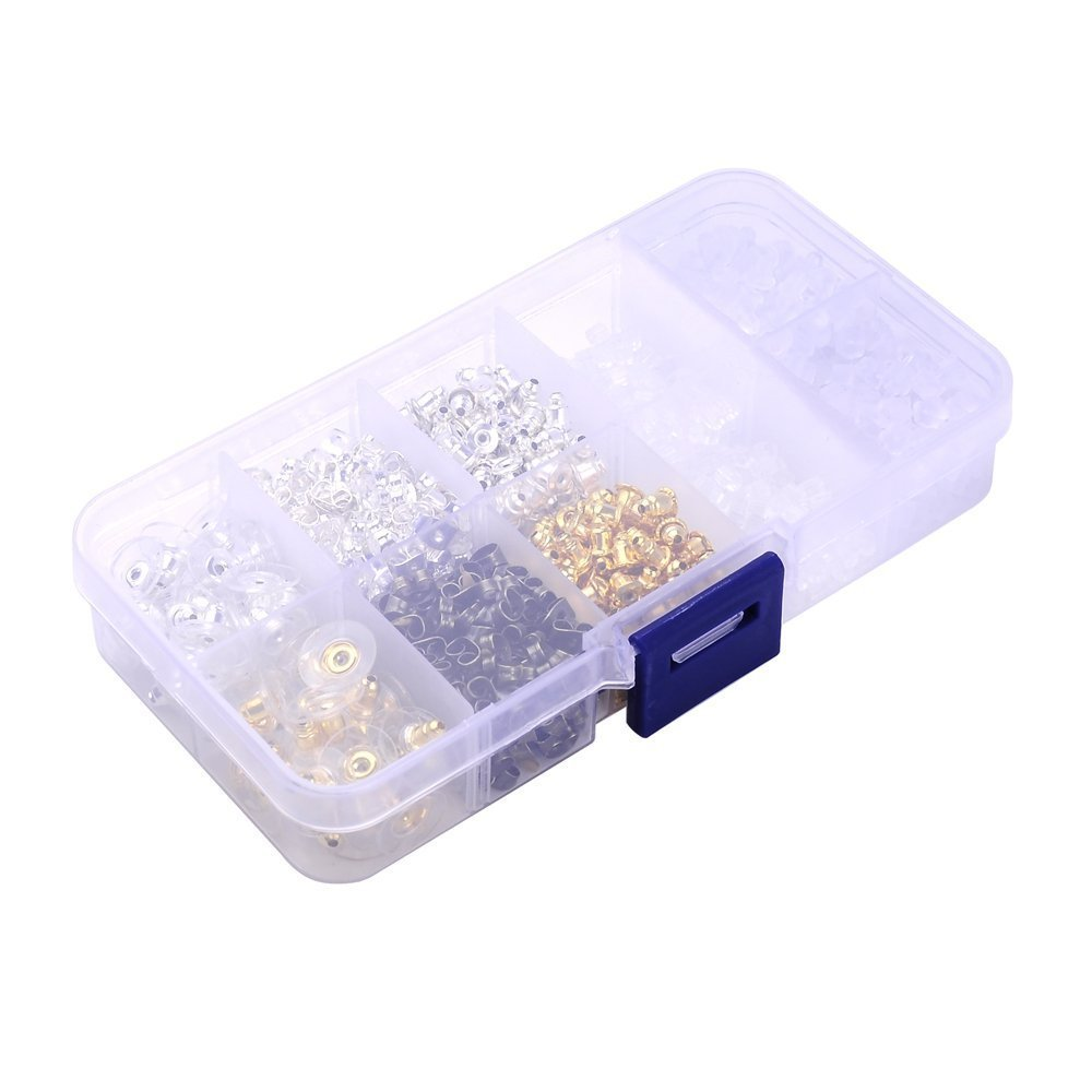 1040 Pieces Earring Backs,Earring backings Supla 10 Styles Earring Back Clips bullet shape earring backs Butterfly Metal Rubber Plastic Secure Earring Backs for Safety