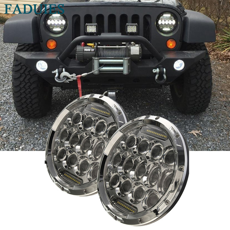 FADUIES Chrome 1Pair 75W 7 Inch Round Car Led Headlights With DRL High/Low Beam For Jeep Wrangler Jk Tj Kenworth Freightliner